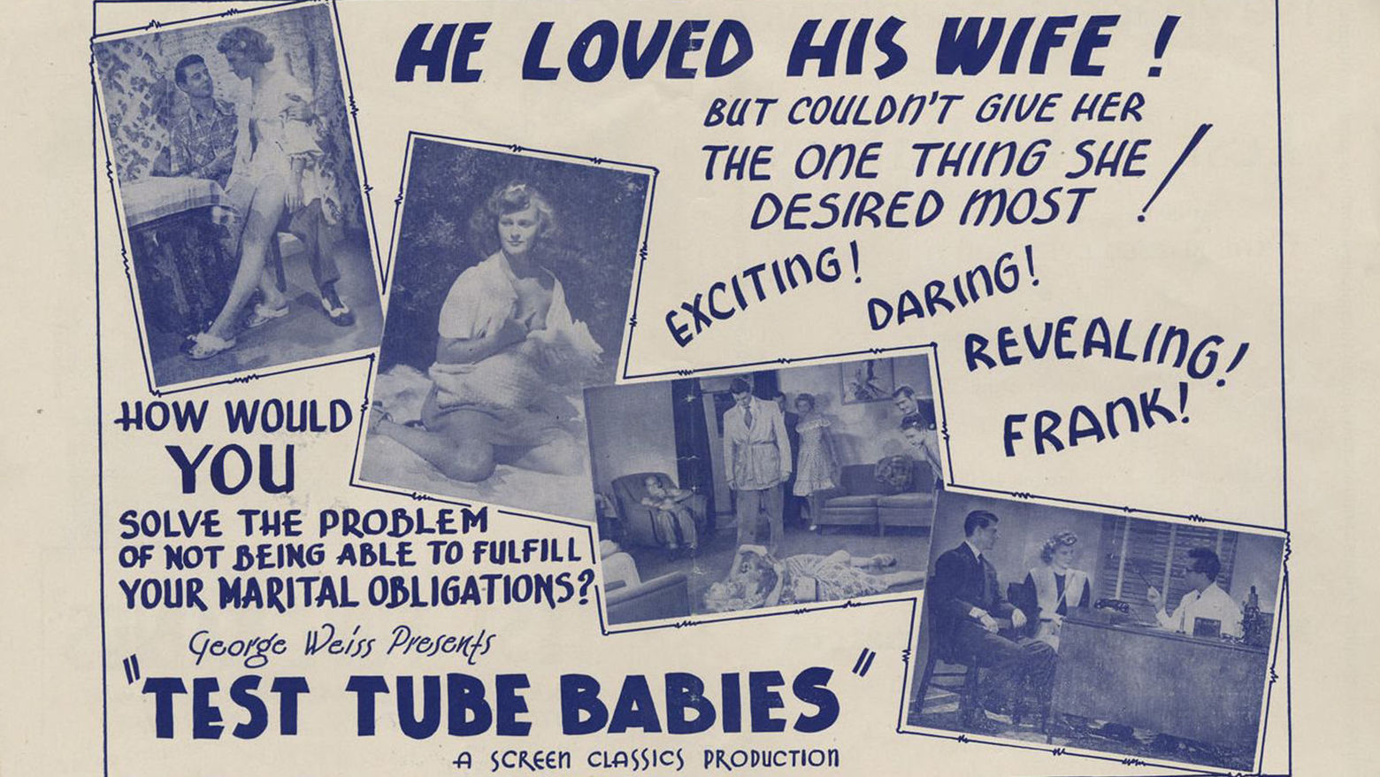 "Promotional art for ""Test Tube Babies"" (1948) Dir. W. Merle Connell"