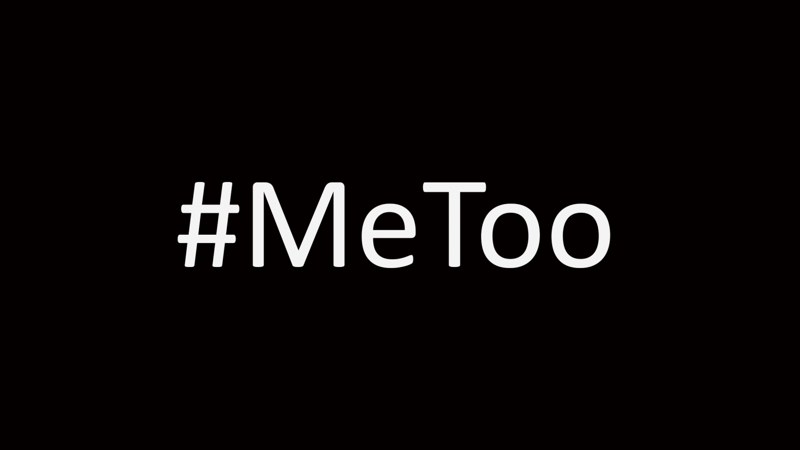 "Header image with word ""#MeToo"" in white text on a black background"