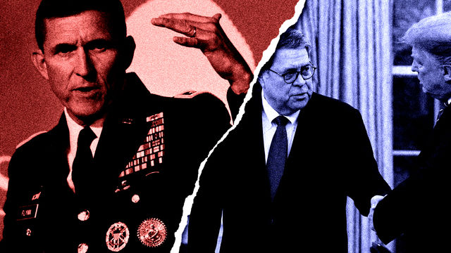 Image of Michael Flynn in a military uniform on the left with a torn edge appears overlaid on top of a photograph of Donald Trump and William Barr Jr..