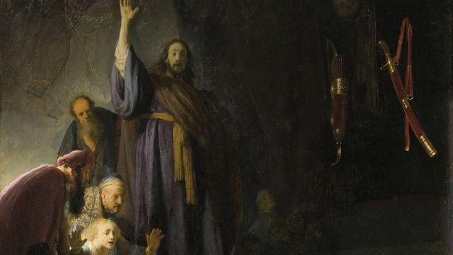 A painting of a figure in a blue cloak, his arm raised above a scene