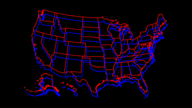 A graphic of a blue United States map overlaid on a red United States map