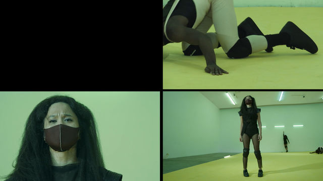 Rectangular image divided into four quadrants. The upper left is black, upper right shows a person kneeling on a yellow floor,  wearing white and black clothes with knee pads and shoes. Bottom right quadrant shows a room with a yellow floor and fluorescent lights on the ceiling with a person standing in the foreground on the floor and two people against the wall in the background. In the lower left quadrant is a person seen from shoulders up, with long black hair, and wearing a cloth mask, looking into sho