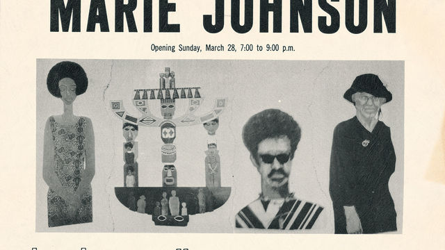 Announcement for Marie Johnson (Calloway) exhibition at Brockman Gallery, Los Angeles, 1971