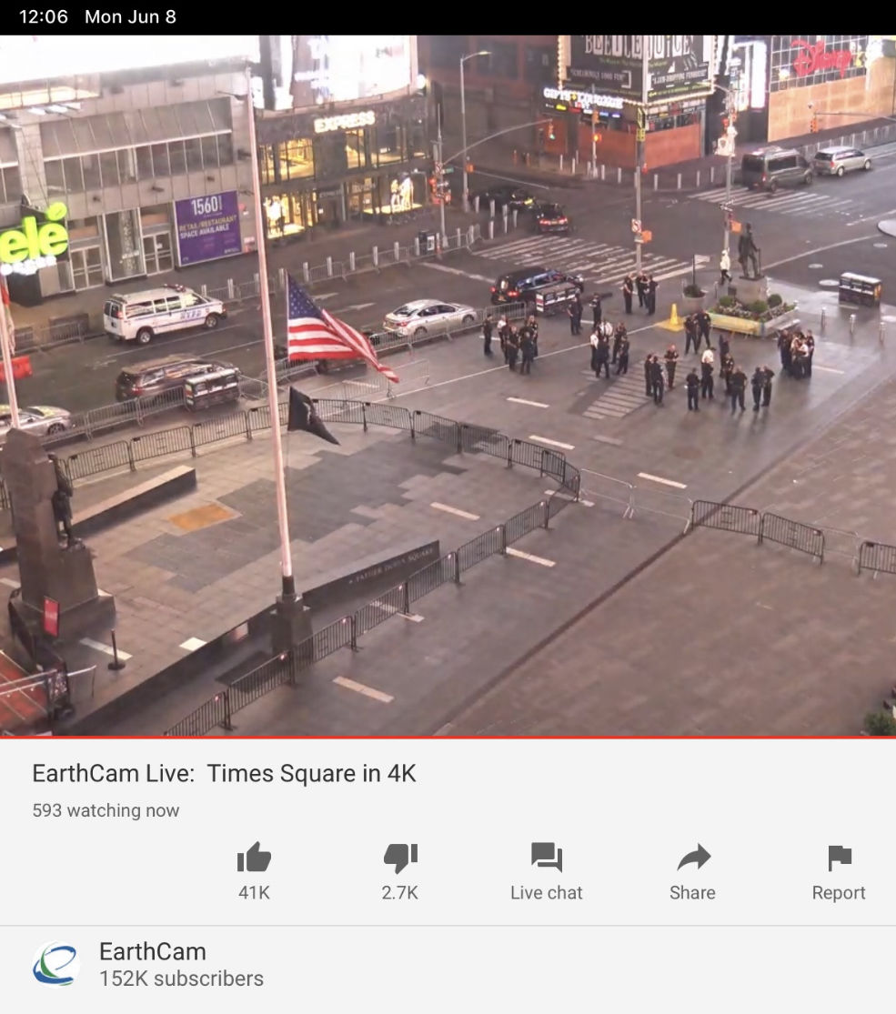 A screenshot of a livestream of police officers in Times Square, New York