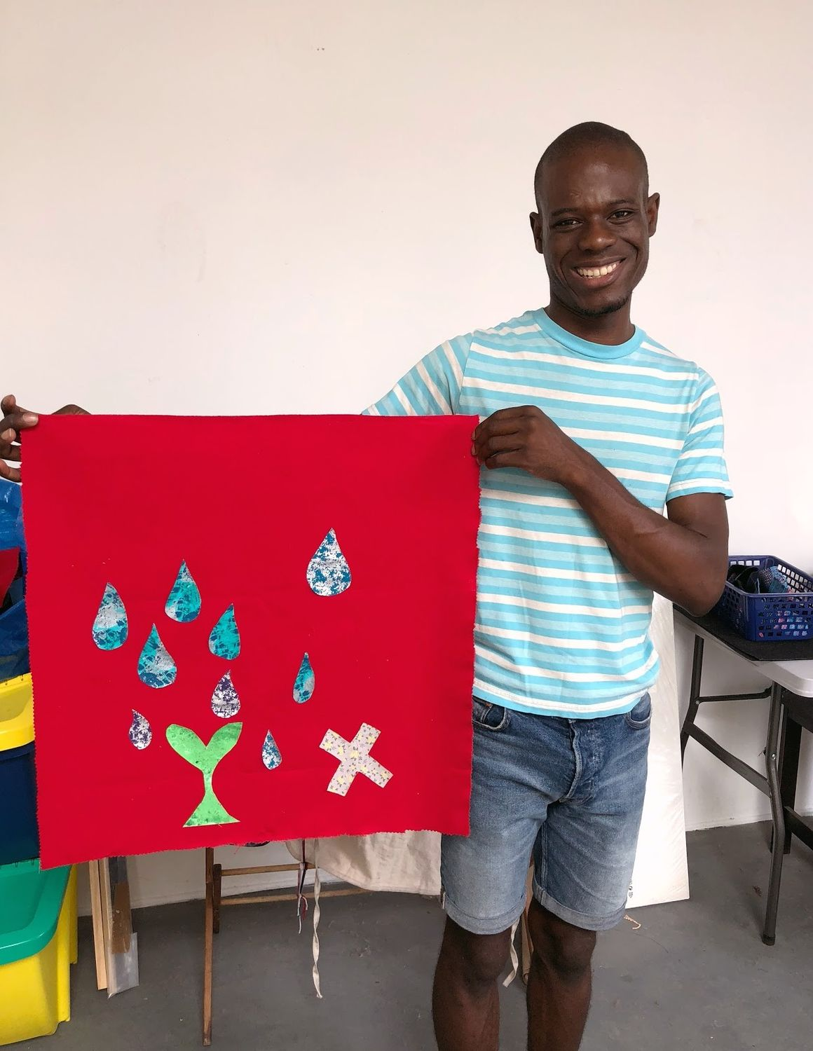 Diedrick with his completed Family Day project test
