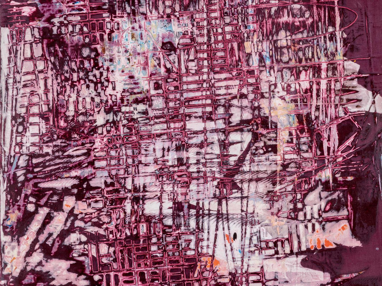 Mark Bradford, Scratch Pink, mixed media, 60 x 48 in. ©Mark Bradford. Image courtesy Sotheby's