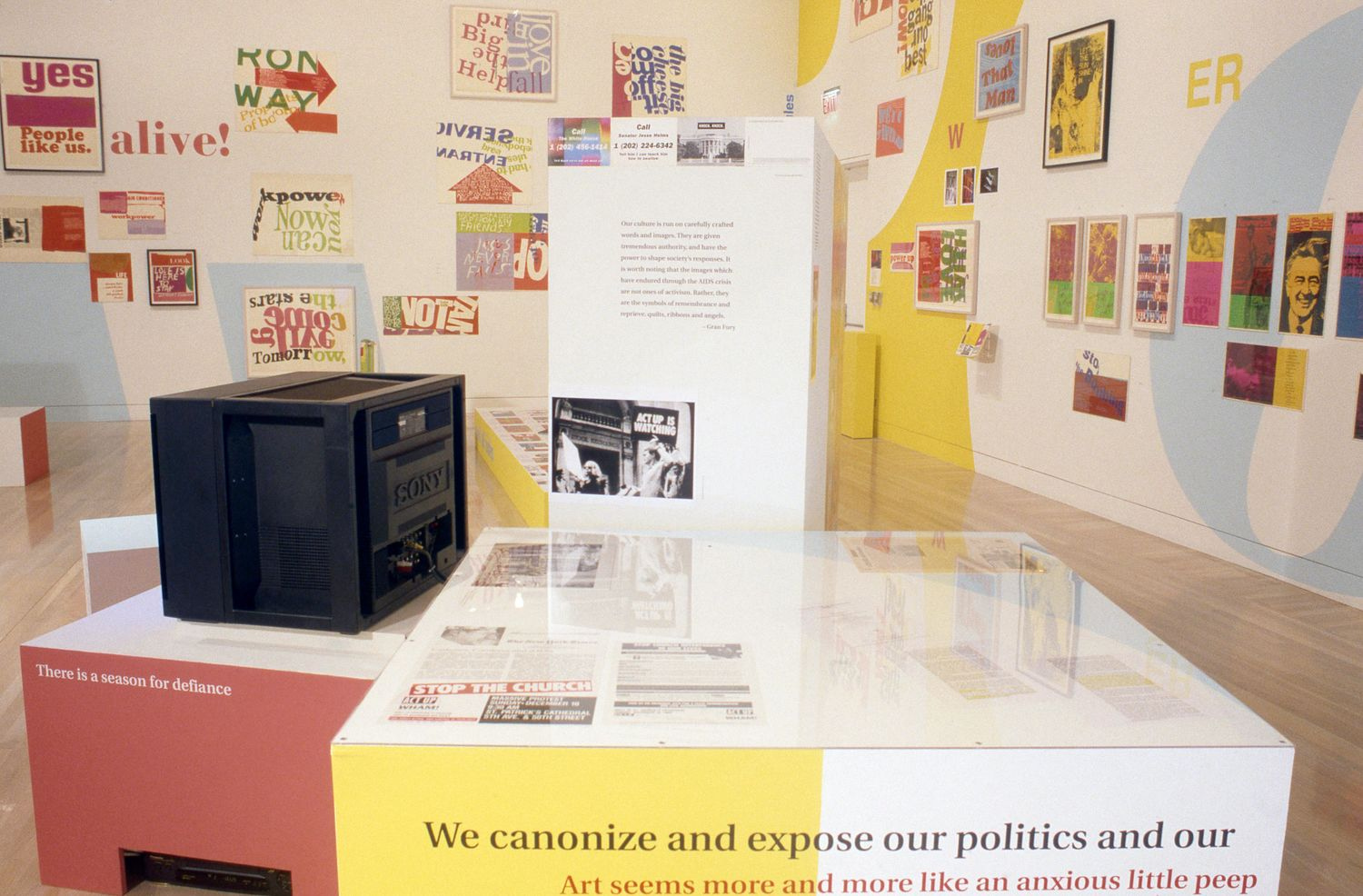 Installation view of Power Up: Sister Corita and Donald Moffett, Interlocking at the Hammer Museum, Los Angeles from February 6 – April 2, 2000