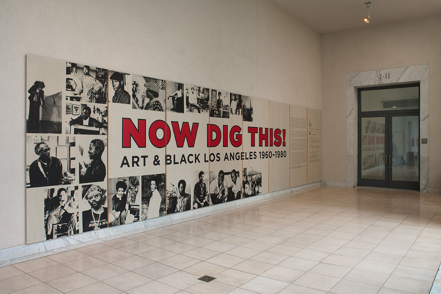 Exhibition entryway sign. Installation view at the Hammer Museum, Los Angeles