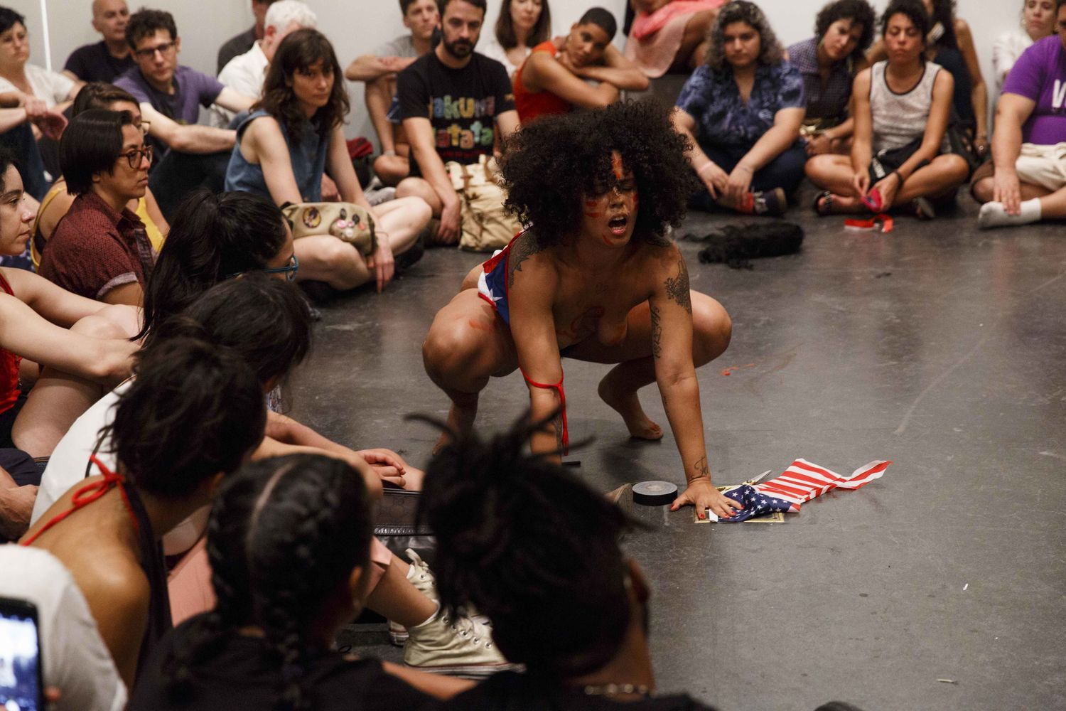 Awilda Rodríguez Lora performs at Cuerpxs Radicales: Radical Bodies in Performance. Brooklyn Museum, July 5, 2018