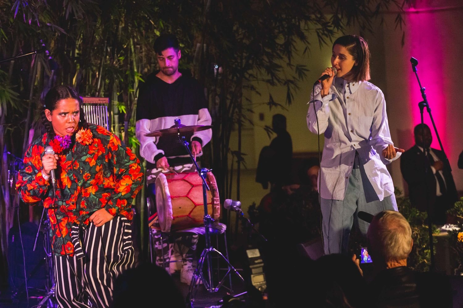 Lido Pimienta (left) performs with Francisca Valenzuela (right) at ¡Pa'rriba!. Hammer Museum, Los Angeles, September 22, 2017