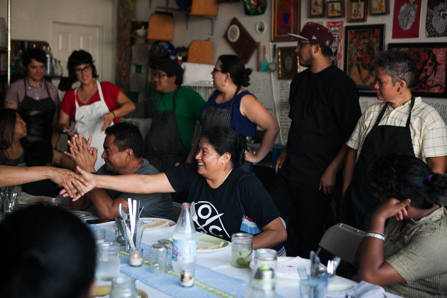 The Worker Body, dinner and facilitated conversation by and for restaurant workers, Cocina Abierta and Restaurant Opportunities Center of Los Angeles event, July 2015.