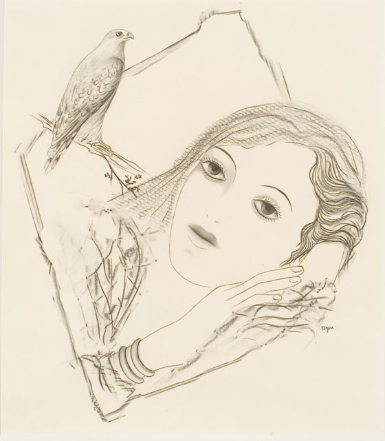Toyen, untitled frottage - image of a woman and bird