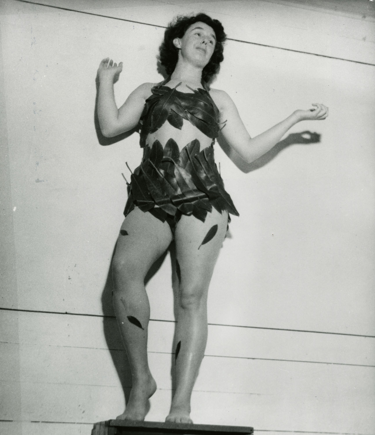 Evelyn Bullock dressed for costume party at the 1949 Summer Art Institute. Photo by Dina Woelffer.
