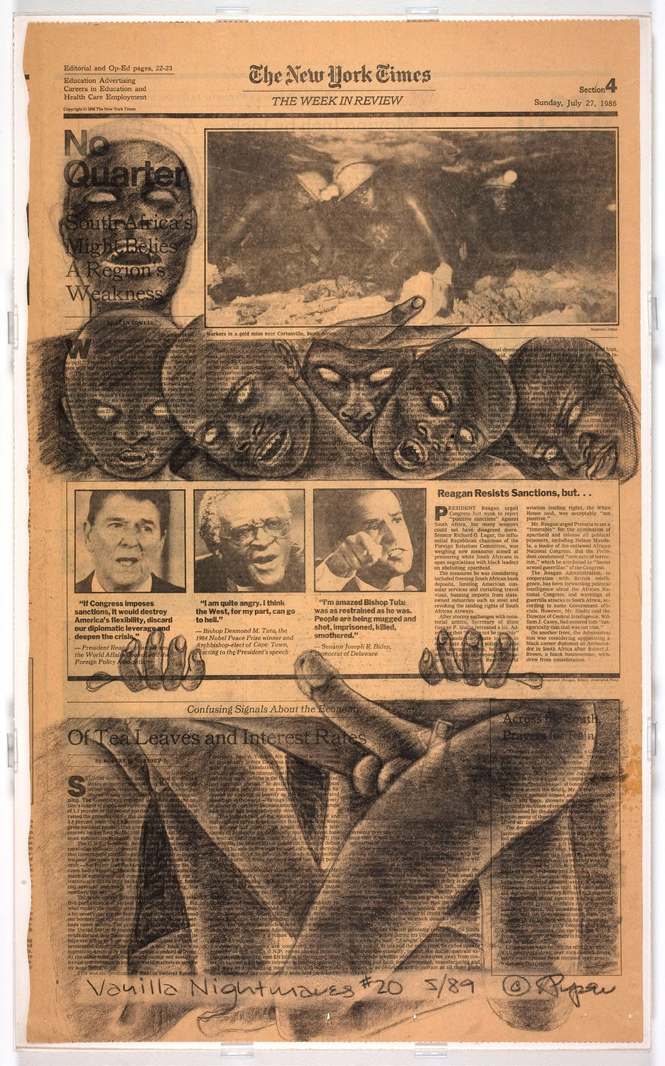 Adrian Piper, Vanilla Nightmares #20, 1989. Charcoal on newspaper. 23 × 13 ¾ in. (58.4 × 34.9 cm). Hammer Museum, Los Angeles. Purchase. © Adrian Piper Research Archive Foundation Berlin.
