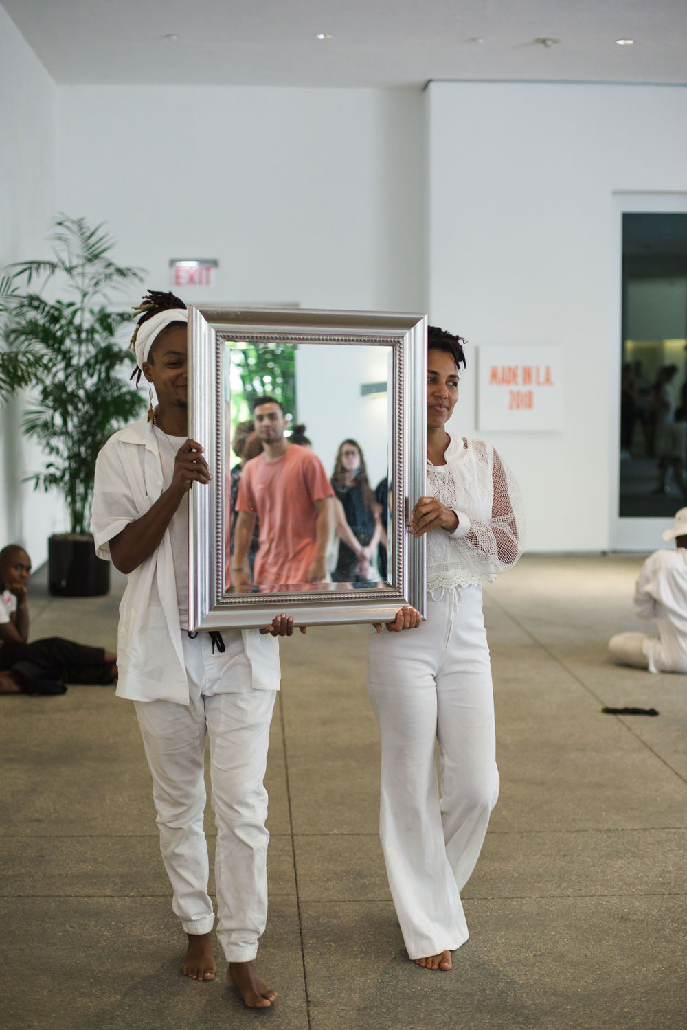 taisha paggett and WXPT, breathingholdinglistening practice, in conjunction with Made in L.A. 2018, Hammer Museum, Los Angeles, September 1, 2018.