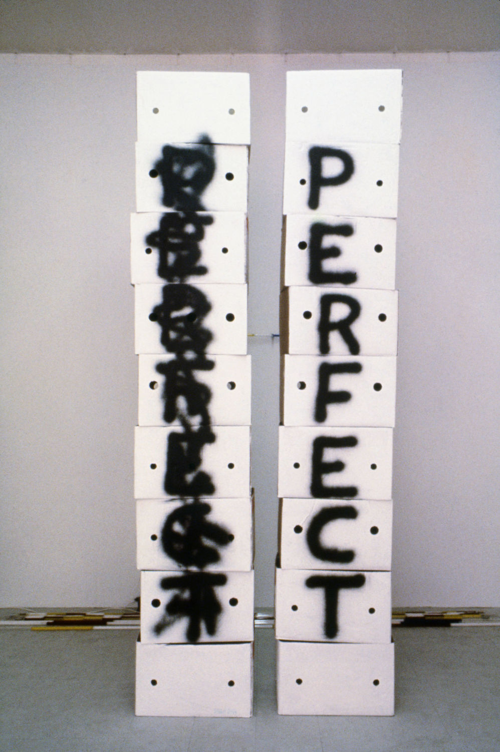 Allen Ruppersberg, Perfect, 1970. Paint on cardboard boxes. Courtesy the artist.