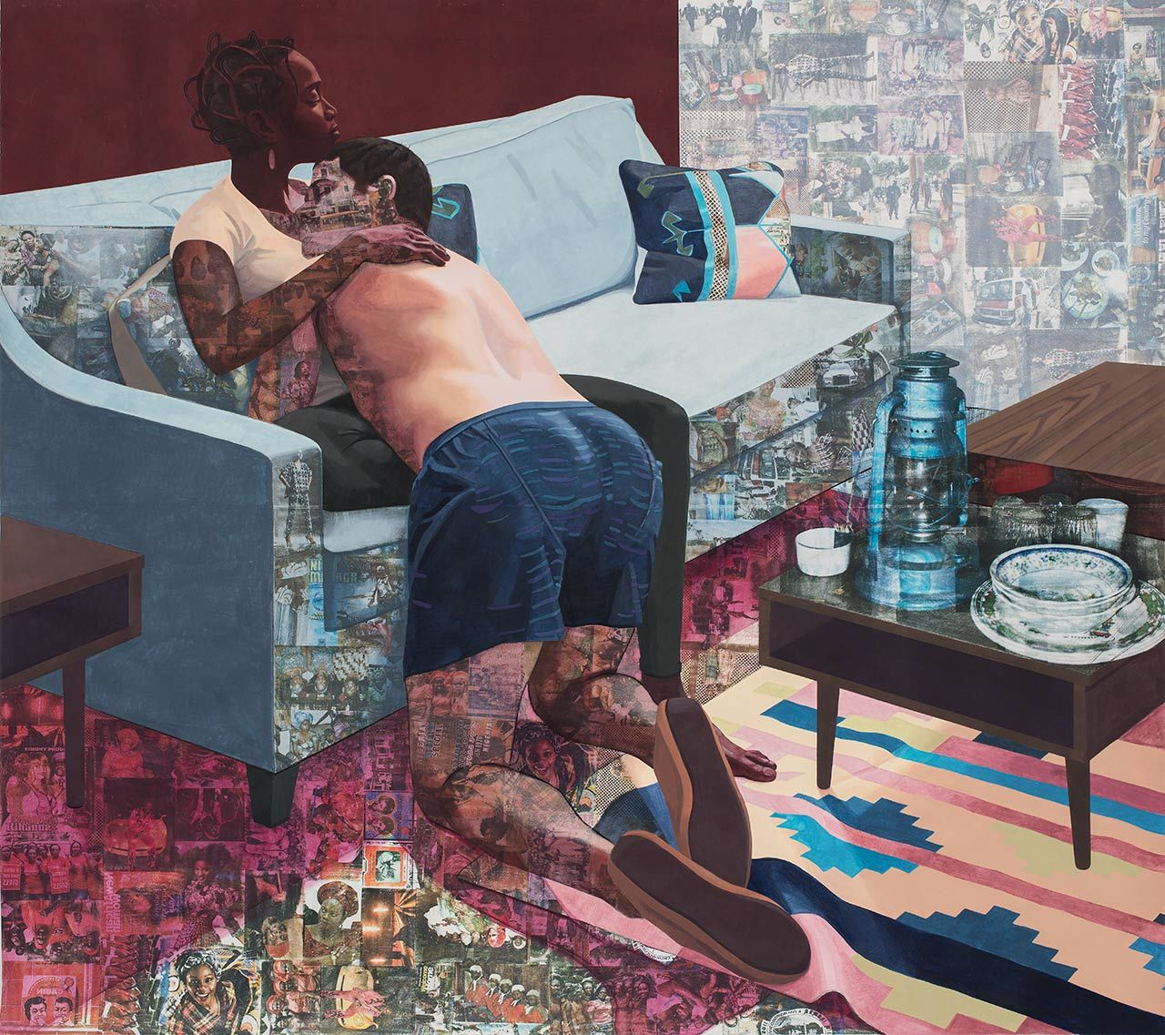 Njideka Akunyili Crosby, Ike Ya, 2016. Acrylic, transfers, colored pencil, and charcoal on paper, 84 × 99 in. (213.4 × 251.5 cm), Hammer Museum, Los Angeles. Purchase.