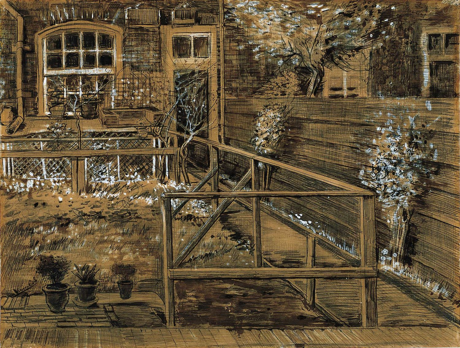 Vincent van Gogh (Dutch, 1853‒1890), Back Garden of Sien's Mother's House, the Hague, 1882, sepia ink, gouache, and graphite on paper, laid on Bristol board, Norton Simon Art Foundation