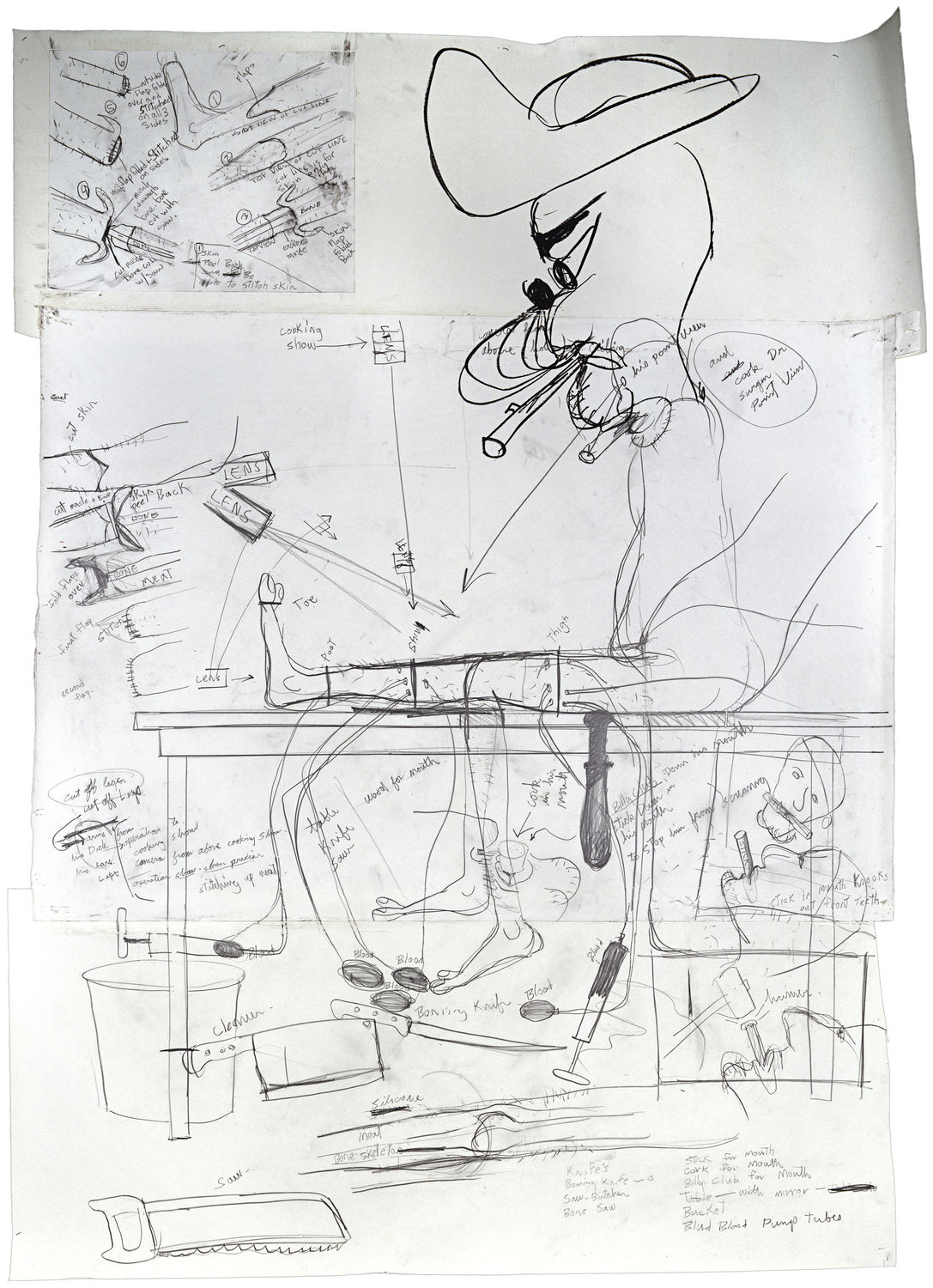 a drawing with black, hand-drawn images on several pieces of white paper, taped together. simple lines sketch out several drawings across the paper, with words written as well. An image of a man with a hat, seated, with his leg outstretched is the largest, central figure.