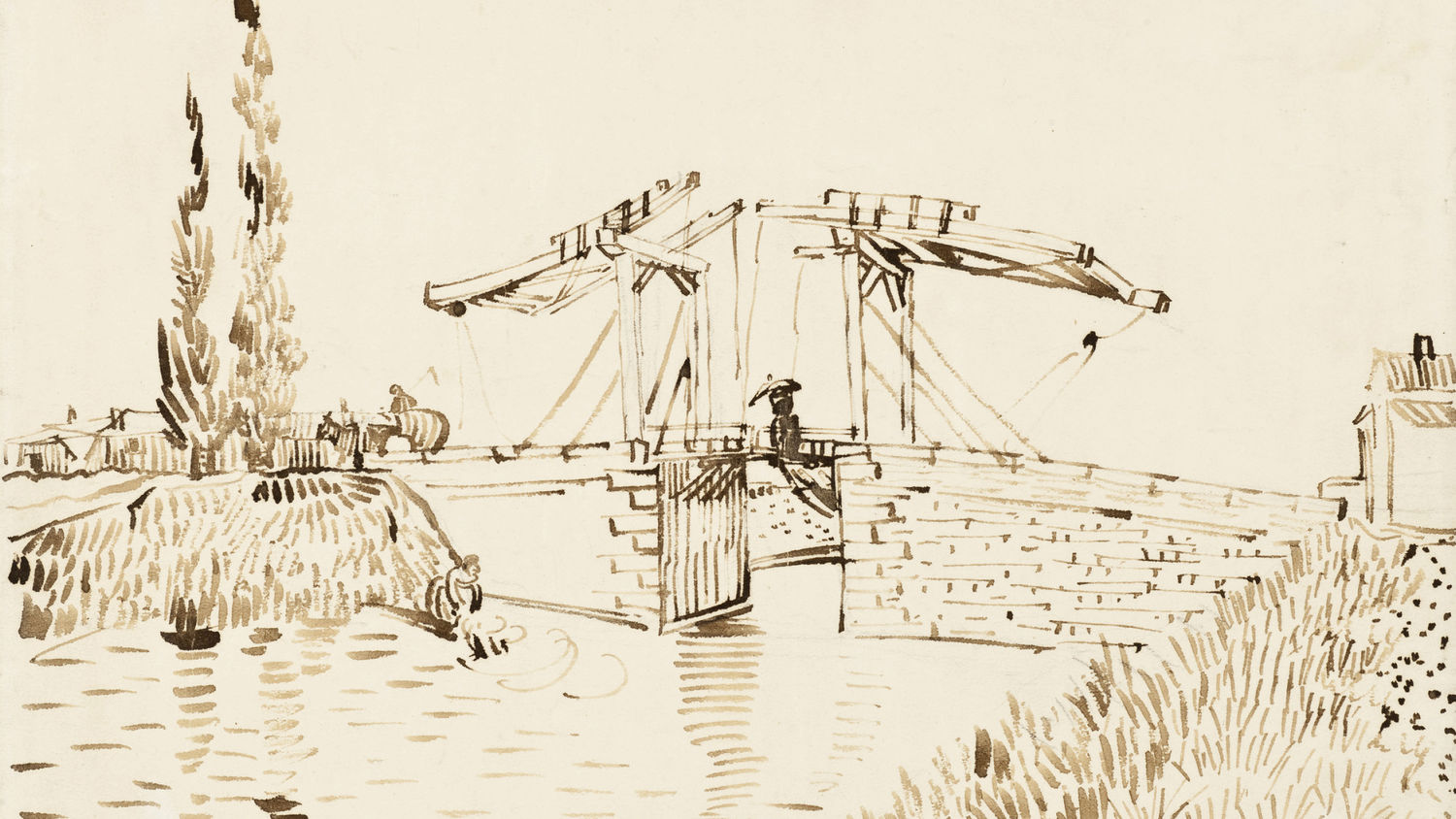 Vincent van Gogh, The Langlois Bridge, 1888, Brown ink over traces of black chalk, Los Angeles County Museum of Art.