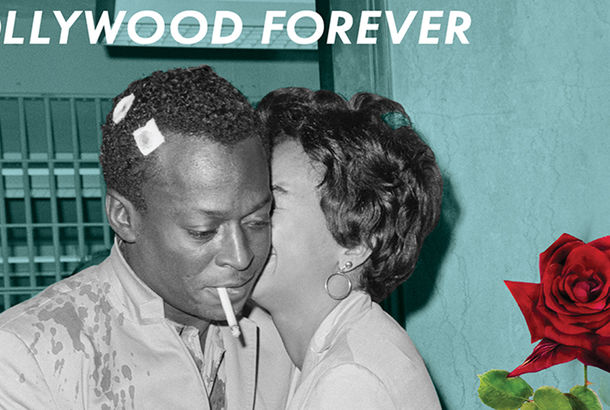 A collage magazine cover of a man and a woman. The words Hollywood Forever are printed across the top, and a red rose is pasted over the image.