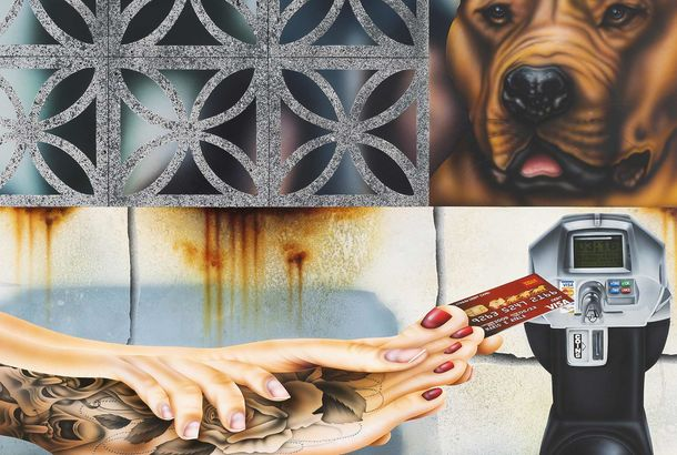 Detail of a realistic painting showing an image of a brick wall, a brown dog, and tattooed hands reaching to a parking meter