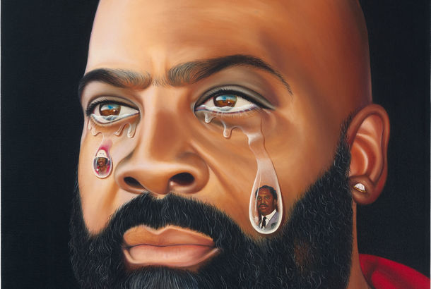A painting of a bearded man crying, with faces painted within his tears
