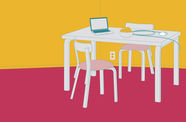 graphic image of a white table and chairs with a computer on the table, with a solid background of yellow covering the top half of the image, and burgundy on the bottom half.