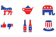 Blue and red graphic icons of the republican and democratic parties, on a white background.