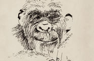 Paul McCarthy's self portrait is a line drawing of a monkey's face.