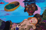 In a colorful painting, a baby in a cradle and a head in a graduation cap float above two reclining figures