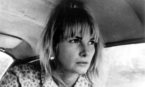 Still from the film Wanda (1971) showing a woman inside a car staring intensely