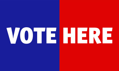"the words ""VOTE HERE"" appear across a background that is blue on the ledt half and red on the right half."