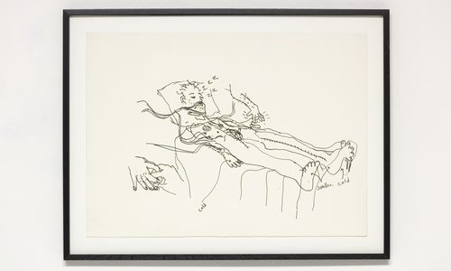 A sketch of a man in a hospital bed