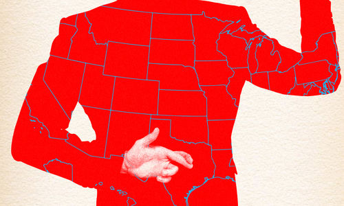Graphic image of back of person's torso, who is wearing a red jacked with the US states outlined. One arm is behind the back with fingers crossed, the other arm is raised up as if swearing an oath. The torso is visible from  below the neck to hip.