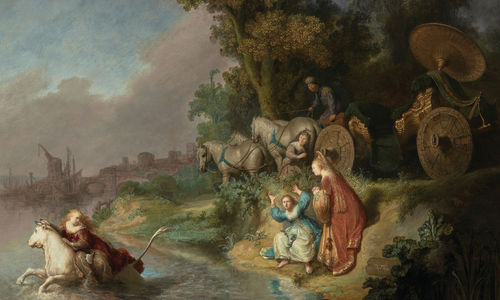 A pastoral painting of colorfully dressed figures and animals in nature