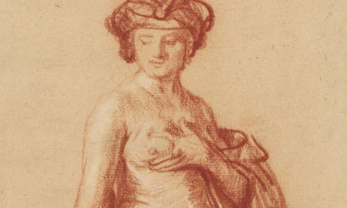 A brown drawing of a nude figure looking over its shoulder