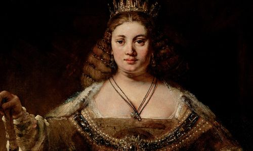 A portrait of a woman dressed in regal clothing with a crown