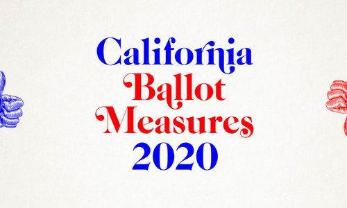 A red-and-blue graphic with a thumb up and a thumb down reading California Ballot Measures 2020