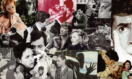 A rectangular panel collaged with many images in black and white and color of men and women. Many seem to be from nid-20th-century movies, and in many, the men and women are embracing.