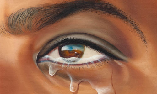 "Tears streaming from a brown eye in a close detail of a painting entitled ""Mr. Rene # MAN POWER"" (2011) by Fulton Leroy Washington (aka ""MR. WASH"")"