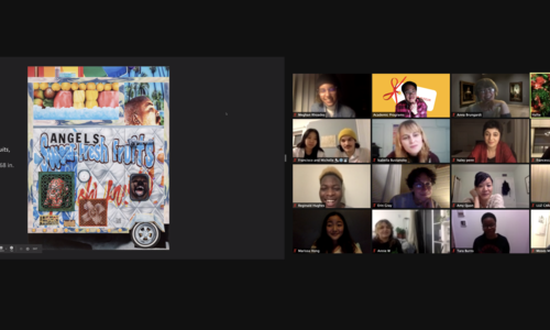 A computer screen shot of a zoom meeting. On the right is a grid of 16 faces , and on the left is an image of a brightly covered artwork with graffitti-like imagery.