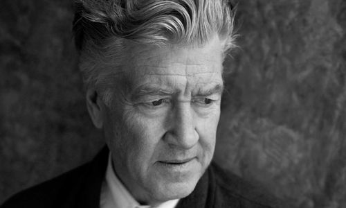 Black and white photographic portrait of David Lynch
