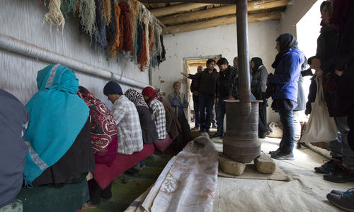 Visiting a weaving studio in Bamiyan, Afghanistan.  Photo: Lisa Anne Auerbach