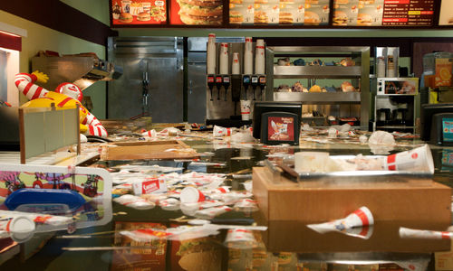 SUPERFLEX, Still from Flooded McDonald's, 2009. Digital video. 21 min. Purchased jointly by the Hirshhorn Museum and Sculpture Garden, Smithsonian Institution, Washington, DC, and the Hammer Museum, Los Angeles, through the Board of Overseers Acquisition Fund, 2015.