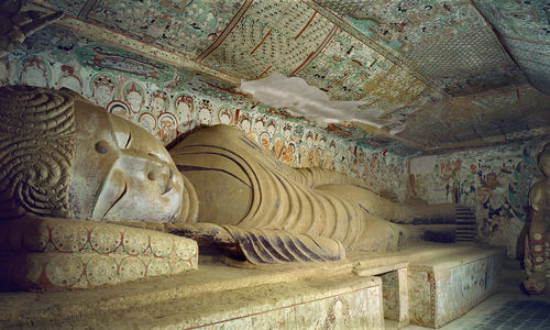 Buddha in Parinirvana, Mogao Cave 158, Middle Tang Dynasty (781-848).