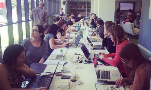 2015 Art + Feminism Wikipedia Edit-a-thon at LACMA, co-organized by East of Borneo and the Women's Center for Creative Work