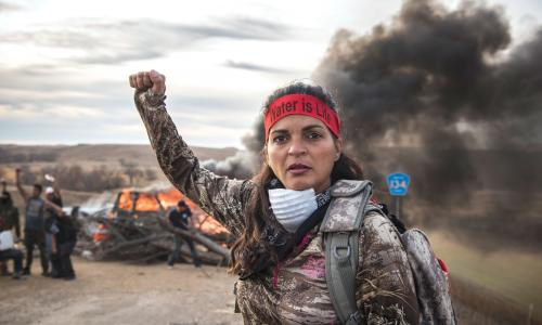 A water protector from the Oceti Sakowun Camp at Standing Rock