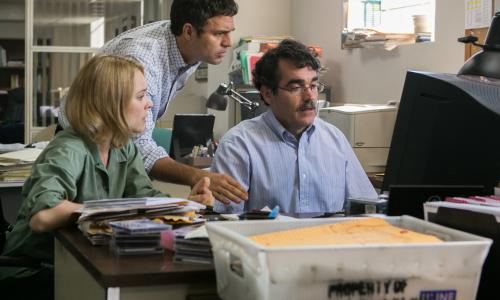 "Scene from ""Spotlight"" with Michael Keaton, Mark Ruffalo, Rachel McAdams, and Liev Schreiber"